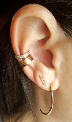 Gold Ear Jackets + Gray Sparkly Spikes - gold ear jacket/ ear jacket spike/ ear jacket gold/ ear jacket earring/ ear cuff/ gifts for her - Fine Jewelry Ideas Full Ear Piercings, Unique Piercings, Cartilage Earrings, Stud Earrings, Diamond Earrings, Crystal Earrings, Silver Earrings, Black Gold Jewelry, Jewelry Gifts
