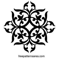 Ornamental Vector Art Images and Floral Decoration Design This single stencil designis a medieval motif. Can be used in many works: A pattern for silk screen, fabric, damask, cnc laser cutter and scroll saw cutting or this artistic motif can be painting p Wall Stencil Patterns, Stencil Designs, Painting Patterns, Fabric Painting, Stencils, Damask Stencil, Stencil Art, Motif Vector, Vector Design