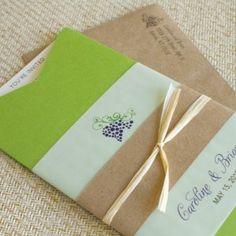 Winery Boarding Pass Wedding Invitation (Green Jacket and Grapes)