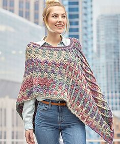 Mountain Breeze Poncho Free Crochet Pattern I have a wonderful poncho for you with a brilliant texture. Poncho ideally puts on the shoulders. Crochet Scarves, Crochet Shawl, Easy Crochet, Crochet Clothes, Crochet Baby, Knit Crochet, Knitted Shawls, Crochet Motif, Crochet Sweaters