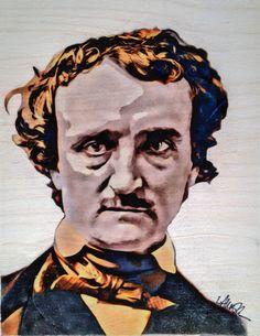 Edgar Allan Poe - 8x10 Print of Original Art - 100lb White Cardstock (Original done on Birchwood) by LaurenIllustrations on Etsy https://www.etsy.com/listing/240000423/edgar-allan-poe-8x10-print-of-original