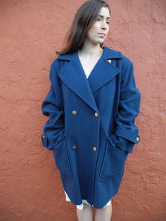 Items similar to Rare Vintage Double Breasted Wool Coat Winter Overcoat, Wool Coat, Double Breasted, 1970s, Collars, Jackets For Women, Navy Blue, Plus Size, Vintage