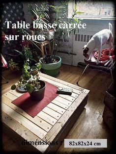 table basse sur roulettes, pouvant s'ouvrir pour un pouf. 90$ #diy #palet #palette #bois #wood #woodwork #atelier #studio #Montréal #tools #outils