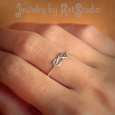 Infinity Knot Ring  Handmade  Sterling Silver 925  by Katstudio, $18.00
