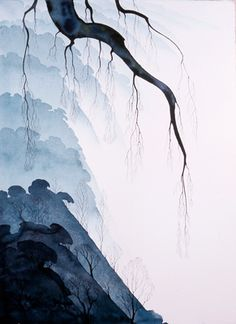 Eyvind Earle - Morning Mist - Watercolors