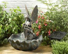 Fairy Leaf Solar Water Fountain - Solar Powered Garden Water Feature 42cm H