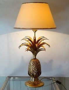Pineapple gilt metal table lamp french mid century hollywood regency vintage