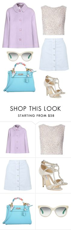 """""""Colors"""" by tammyalves ❤ liked on Polyvore featuring Miu Miu, J. Mendel, Topshop, Jimmy Choo and Hermès"""