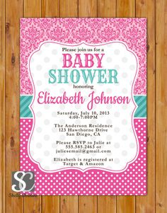 29 best baby shower theme pink teal images on pinterest baby pink teal baby shower invitation damask polka dots invite pink its a girl baby shower invitation 5x7 digital jpg file 36 filmwisefo