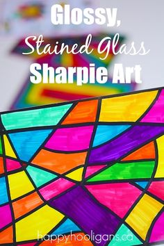 Sharpie Art with Photo Paper - stained glass art project for home Sharpie Pens, Sharpies, Sharpie Shirts, Kids Crafts, Easy Diy Crafts, Wood Crafts, Arts And Crafts, Crafts For Teens, Happy Hooligans
