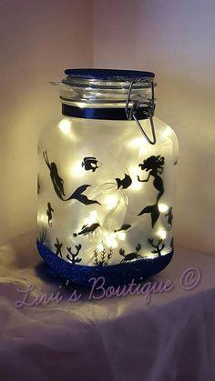 Unicorn night light mood light fairy lights by LivisboutiqueCrafts Pot Mason, Mason Jar Crafts, Bottle Crafts, Mason Jars, Mood Light, Night Light, Bottles And Jars, Glass Jars, Mermaid Bedroom