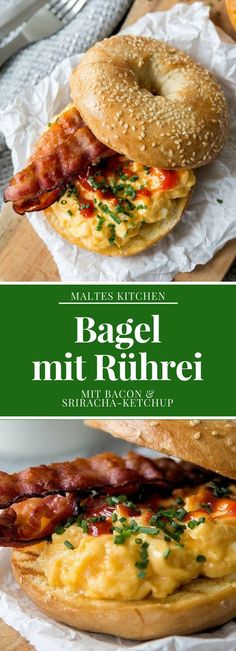 Bagel with scrambled eggs, bacon and sriracha ketchup - Bagel with scrambled eggs, bacon and sriracha ketchup Mango Curry Sauce, Bagel Cafe, Bacon Egg, Brunch, Clean Eating, Food And Drink, Favorite Recipes, Healthy Recipes, Lunches