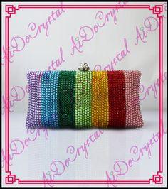 Aidocrystal Regenbogen Streifen Clutch Bag Handgemachte Kristall abendtaschen //Price: $US $168.00 & FREE Shipping //     #cocktailkleider