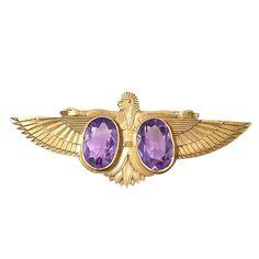 Edwardian Egyptian Revival Amethyst Pin | 1stdibs.com
