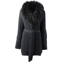 ROBERTO CAVALLI ribbed cardi-coat ($3,045) ❤ liked on Polyvore featuring outerwear, coats, cardigans, wool blend coat, gray coat, roberto cavalli, grey coat and fur collar coat