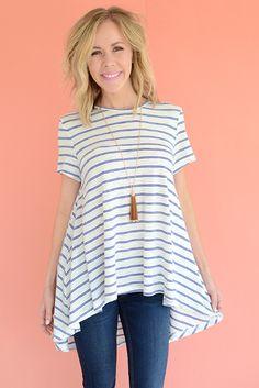 Sebago Stripe Swing Top - Blue