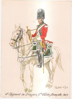 French; 4th Dragoons, Elite Company, Trumpeter, 1809 by H.Knotel
