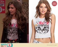 Riley's grey cat tee on Girl Meets World.  Outfit Details: http://wornontv.net/36814/ #GirlMeetsWorld