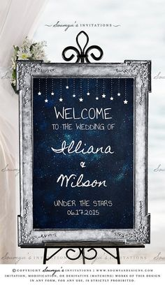 Celestial Wedding Decor, Galaxy Wedding Sign, Navy Blue Silver Wedding Welcome Sign | Feel free to contact me for matching items. © Soumya's Invitations | Soumya S. Mohanty | All Rights Reserved. www.soumyasdesigns.com Imitation, modification, or derivative works (matching items) of this design in any form, for any use, without explicit authorisation from me, is strictly prohibited. #wedding #weddinginspiration #weddingdecor