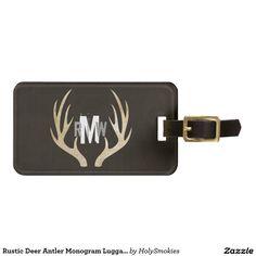 Rustic Deer Antler Monogram Luggage Tag   Grunge
