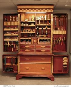 Fantastic use of space in tool storage by MUSSOLINI - via finewoodworking : indulgy