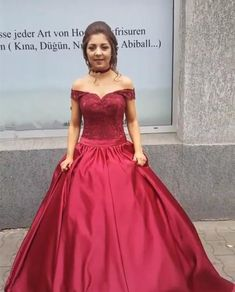 Simple-dress / Ball Gown Off-the-Shoulder Dark Red Satin Quinceanera Dress with Lace Dresses Near Me, Sweet 15 Dresses, Sweet Dress, Simple Dresses, Lace Ball Gowns, Ball Gown Dresses, Burgundy Gown, Burgundy Wedding, Maroon Prom Dress