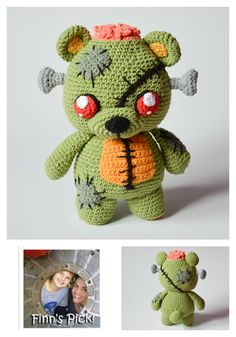 "Maker and designer Kamila Krawka Krawczyk says, ""Frankie the zombie bear is a creepy cute Halloween merger of teddy bear and Frankenstein's monster. I like to call him doctor Krawkastein's zo…"