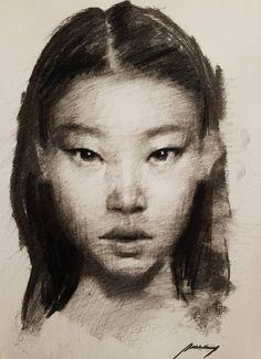 Original Portrait Drawing by Guido Mauas | Impressionism Art on Paper | Head Sketch