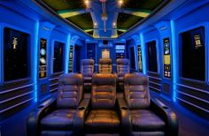Eclectic Home Theater with Custom Theater Seating / Straight Row of 3 Leather Seats, Carpet, interior wallpaper, Box ceiling Movie Theater Rooms, Home Theater Decor, Home Theater Design, Theatre Rooms, Movie Rooms, Best Home Theater System, Star Wars Room, Interior Wallpaper, Build Your Own House