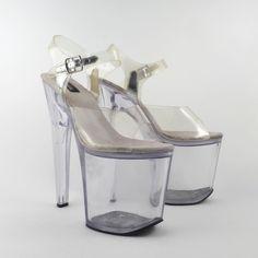 73fb73e4c07f Clear Plastic Heels Sandals Vintage 1990 Platform Stripper Heels Shoes  Pleaser Women s size 9