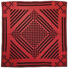 Amish Nine Patch/Diamond in the Square Variation Quilt, c. 1915-25, 78 x 76 inches.  Holmes Co., Ohio. Probably made by Naomi Hershberger (wife of Daniel, married 1907).  Image courtesy of the Keny Galleries