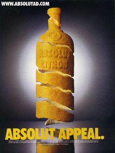 absolut appeal - Lemon peel in the shape of a bottle.  Black background.