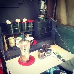 Enjoying a coffee  enjoying my handmade camp kitchen enjoying...
