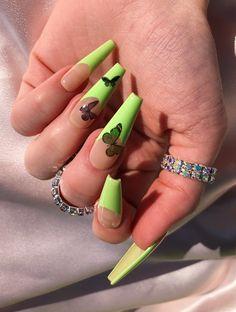 Drip Nails, Bling Acrylic Nails, Hot Nails, Best Acrylic Nails, Acrylic Nail Designs, Mint Green Nails, Yellow Nails, Neon Green, Edgy Nails