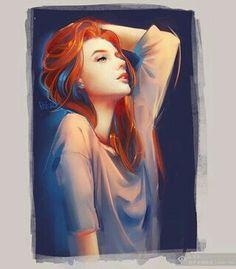 Девушка, рыжие волосы, арт