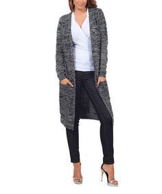 Look at this #zulilyfind! Black & White Variegated Open Long Cardigan…