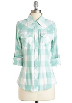 Simply Scout Top in Mint - Mid-length, Cotton, Woven, White, Mint, Plaid, Buttons, Pockets, Casual, Rustic, 3/4 Sleeve, Variation