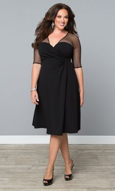 Get an LBD with a fierce twist!  Our plus size Sugar and Spice Dress is a classic design with an edgy twist.  www.kiyonna.com  #PlusSizeFashion