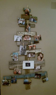 Use old barn wood to create a tree like structure. I used clothes pins to hang pictures from my family tree!