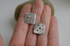 Square Sterling Silver Dangle Earrings with by ReaganHayhurst