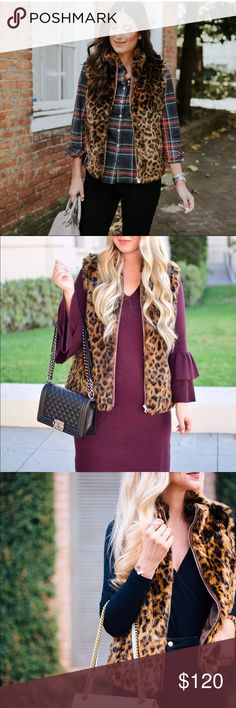 """New J. Crew Leopard Faux Fur Vest J. Crew Faux Fur Leopard Vest:  Leopard print has always been a classic in our book, and this season we went a little wild... Acrylic/poly. Dry clean. Import. Item G9519. Hits at hip. 24.5"""" long Regular & 23.4"""" Petite J. Crew Jackets & Coats Vests"""