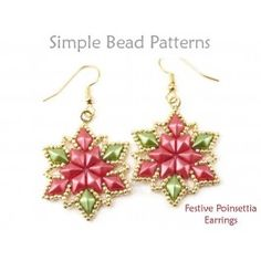 9cfbb9809 DIY Christmas Earrings Beaded Poinsettia Pattern with Diamond Duo Beads Diy Christmas  Earrings, Beaded Christmas