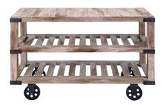 Aged Rustic Wood & Wheeled Console