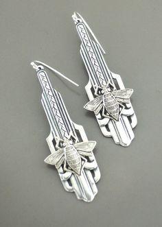 Art Deco Earrings - Honey Bee Earrings- Silver Earrings - handmade jewelry So Beeeutiful! Lovely vintage silver plated Art Deco earrings embellished with a sweet honey bee. Fabulous Deco detail. Help save the bees, please. Chloe says, Wear them and feel fabulous! They measure 2