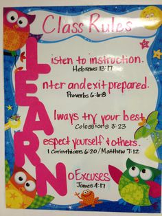 Classroom rules with a Scripture to back it up! An awesome way to show my students that the Bible is the guidebook for our lives!