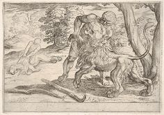 Antonio Tempesta | Hercules and the Nemean Lion: Hercules grasps the front right leg of the lion, which lifts its snout upward, in the middle ground Hercules pulls the skin from the lion's corpse, from the series 'The Labors of Hercules' | The Met