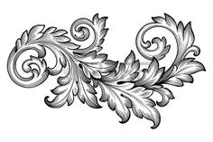 Vintage baroque frame scroll ornament engraving border floral retro pattern antique style acanthus f Stock Vector