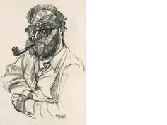 pencil drawing, half-length, smoking his pipe and wearing spectacles, signed, inscribed and dated 'John Bratby 19 June '61 Self-Portrait',  21 x 141/2 in (53.3 x 36.8 cm).