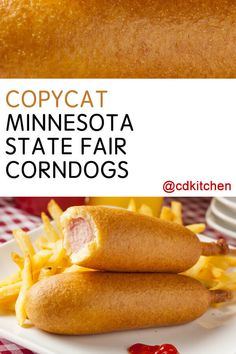 Copycat Minnesota State Fair Corn Dogs - Hard to pick a more classic fair food than a good old corndog on a stick. A cornmeal batter with h. State Fair Corn Dog Recipe, State Fair Food, Hot Dog Recipes, Beef Recipes, Cooking Recipes, Pronto Pup Recipe, Corndog Batter Recipe, Corn Dog Maker, Cornmeal Recipes