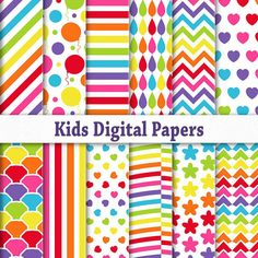 Kids party digital paper pack download, Printable scrapbook background.